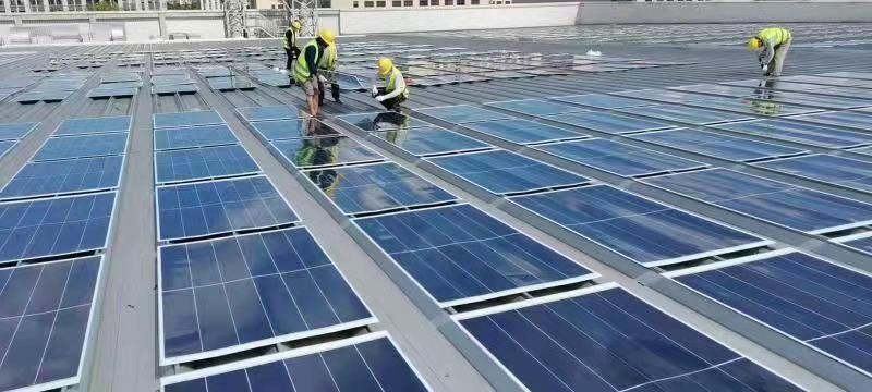 Solar power installation at Iriso Electronics factory in Nantong, China